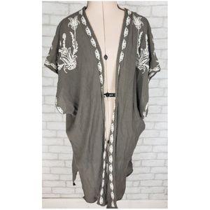 Full Tilt Olive Green Embroidered Open Kimono Sm